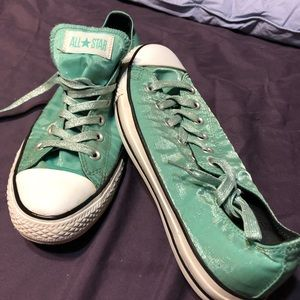 Converse light aqua metallic low tops. EUC